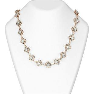 29 ctw Diamond Necklace 18K Rose Gold - REF-4378Y2X