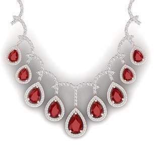31.5 ctw Designer Ruby & VS Diamond Necklace 18K Rose