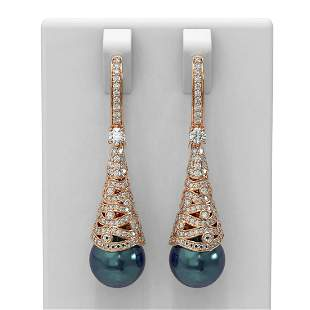 1.84 ctw Diamond & Pearl Earrings 18K Rose Gold -