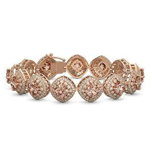 31.35 ctw Morganite & Diamond Victorian Bracelet 14K