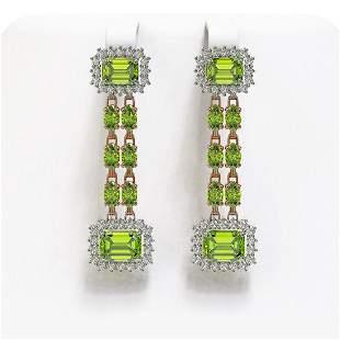 10.88 ctw Peridot & Diamond Earrings 14K Rose Gold -