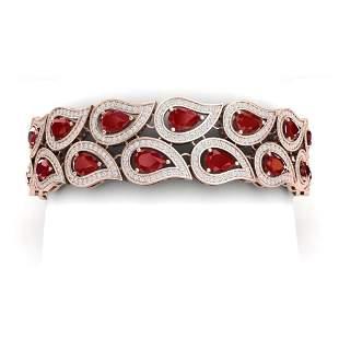 20.1 ctw Designer Ruby & VS Diamond Bracelet 18K Rose