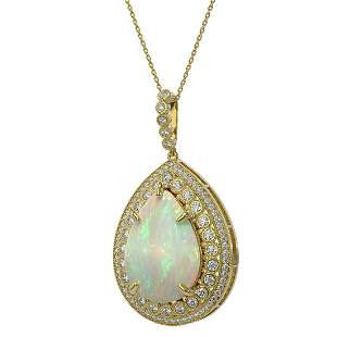 31.84 ctw Certified Opal & Diamond Victorian Necklace