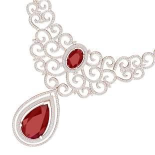 87.52 ctw Ruby & VS Diamond Necklace 18K Rose Gold -
