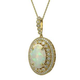 13.42 ctw Certified Opal & Diamond Victorian Necklace