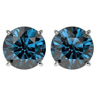 4 ctw Certified Fancy Blue Diamond Stud Earrings 10K