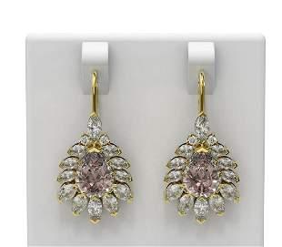 10.6 ctw Morganite & Diamond Earrings 18K Yellow Gold -