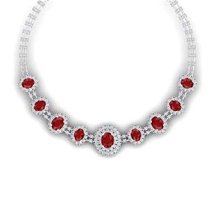 45.69 ctw Ruby & VS Diamond Necklace 18K White Gold -