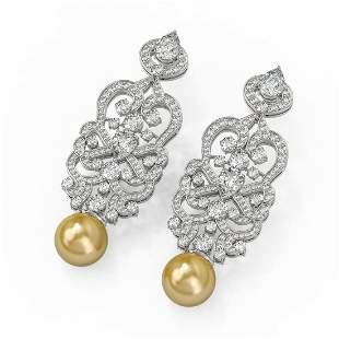 11.2 ctw Pear Cut Diamond & Pearl Earrings 18K White