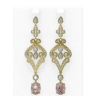 9.85 ctw Morganite & Diamond Earrings 18K Yellow Gold -