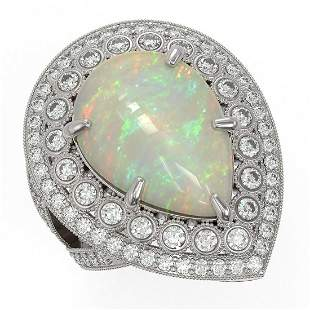 11.19 ctw Certified Opal & Diamond Victorian Ring 14K