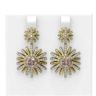 5.43 ctw Morganite & Diamond Earrings 18K Yellow Gold -