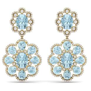 32.99 ctw Sky Topaz & VS Diamond Earrings 18K Yellow