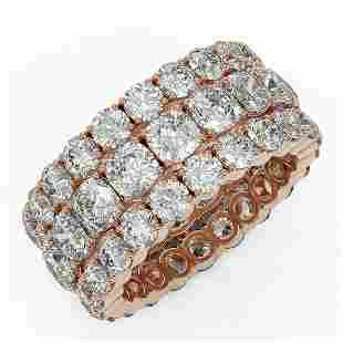 10.4 ctw Cushion Cut Diamond Eternity Ring 18K Rose