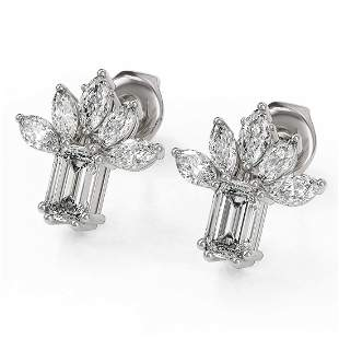 1.75 ctw Emerald Cut Diamond Designer Earrings 18K