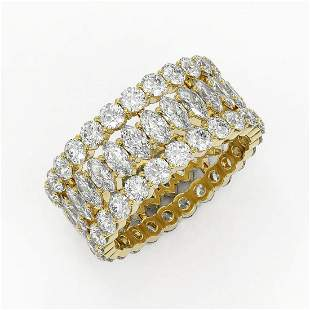 7.01 ctw Marquise Cut Diamond Eternity Ring 18K Yellow