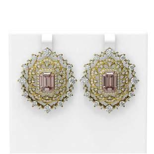 16.37 ctw Morganite & Diamond Earrings 18K Yellow Gold