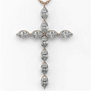 2 ctw Marquise Diamond Designer Cross Necklace 18K Rose