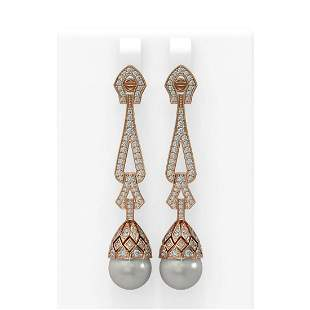 3 ctw Diamond & Pearl Earrings 18K Rose Gold -