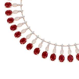 65.62 ctw Ruby & VS Diamond Necklace 18K Rose Gold -