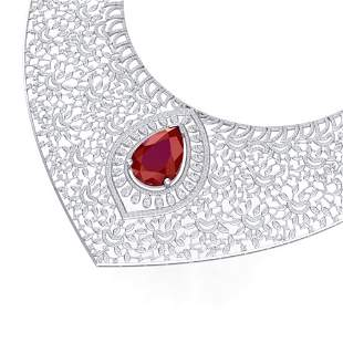 63.93 ctw Ruby & VS Diamond Necklace 18K White Gold -