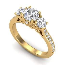 1.67 ctw VS/SI Diamond Solitaire Art Deco 3 Stone Ring