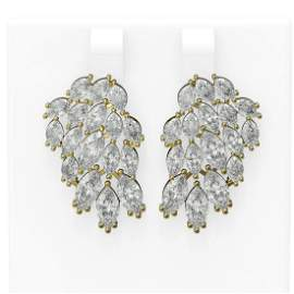 11.26 ctw Marquise Diamond Earrings 18K Yellow Gold -