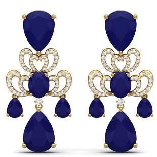58.73 ctw Sapphire & VS Diamond Earrings 18K Yellow