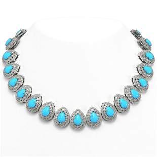 98.02 ctw Turquoise & Diamond Victorian Necklace 14K