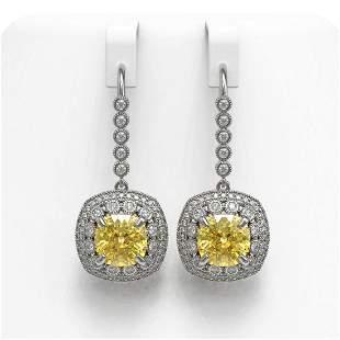 14.4 ctw Canary Citrine & Diamond Victorian Earrings