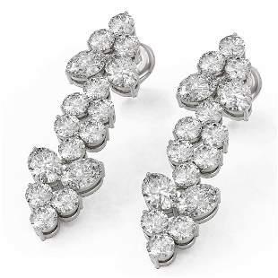 4 ctw Oval Cut Diamond Designer Earrings 18K White Gold
