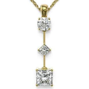 1.16 ctw Princess Cut Diamond Necklace 18K Yellow Gold
