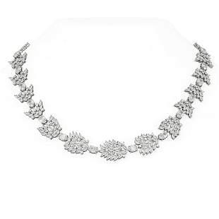 56 ctw Oval Diamond Necklace 18K White Gold -