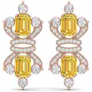25.35 ctw Canary Citrine & VS Diamond Earrings 18K Rose