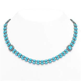 44.58 ctw Turquoise & Diamond Necklace 14K White Gold -