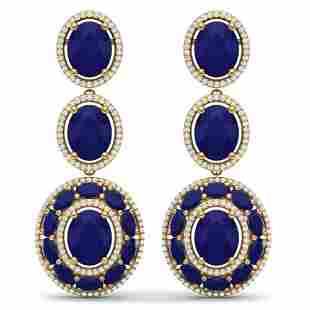 32.84 ctw Sapphire & VS Diamond Earrings 18K Yellow