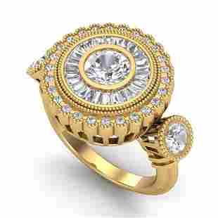 2.62 ctw VS/SI Diamond Solitaire Art Deco 3 Stone Ring