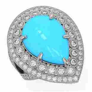 10.53 ctw Turquoise & Diamond Victorian Ring 14K White