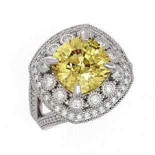 7.22 ctw Canary Citrine & Diamond Victorian Ring 14K