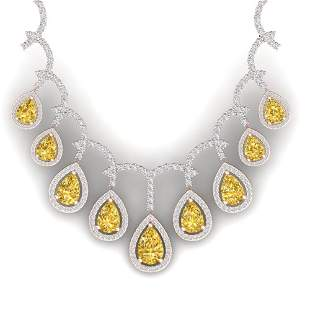 29.42 ctw Canary Citrine & VS Diamond Necklace 18K Rose
