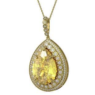 57.84 ctw Canary Citrine & Diamond Victorian Necklace