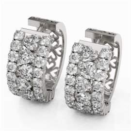 12.34 ctw Heart Diamond Designer Earrings 18K White
