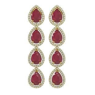 16.01 ctw Ruby & Diamond Micro Pave Halo Earrings 10k