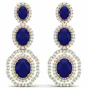 17.01 ctw Sapphire & VS Diamond Earrings 18K Yellow