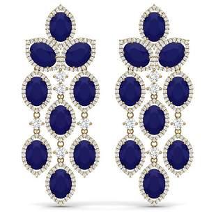 26.15 ctw Sapphire & VS Diamond Earrings 18K Yellow