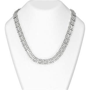 66 ctw Oval Diamond Necklace 18K White Gold -