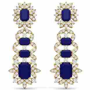 30.25 ctw Sapphire & VS Diamond Earrings 18K Yellow