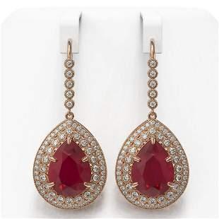 31.74 ctw Certified Ruby & Diamond Victorian Earrings