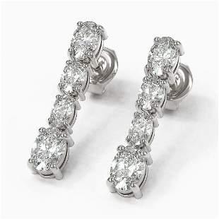 3.74 ctw Oval Diamond Earrings 18K White Gold -