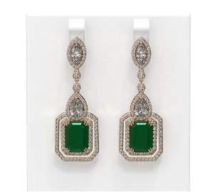 16.57 ctw Emerald & Diamond Earrings 18K Rose Gold -